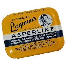 Vintage Medicine Tin Laymon's Asperline Tablets 5 Grain Spencer Indiana IN