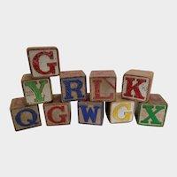 Set of 10 Vintage Wooden Alphabet ABC Blocks