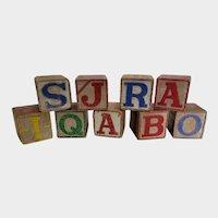 Set of 9 Vintage Wooden Alphabet ABC Blocks