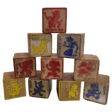 Set of 10 Vintage Disney Wooden Alphabet ABC Blocks