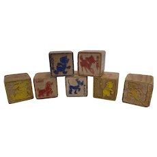 Set of 7 Vintage Disney Wooden Alphabet ABC Blocks