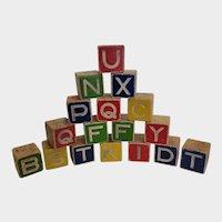 Set of 17 Vintage Wooden Alphabet ABC Blocks