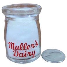 Vintage Individual Cream Bottle Muller's Dairy Rockford's Pioneer Dairy Milk