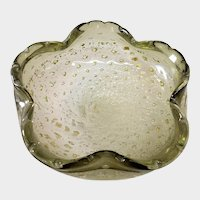 Vintage Murano Art Glass Bowl - Aventurine with Controlled Bubbles