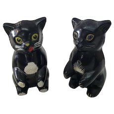 Vintage Plastic F&F Die Works Black Cat Salt & Pepper Shakers