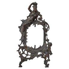 Art Nouveau Figural Metal Frame - Woman & Cherub