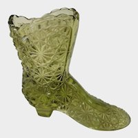 Fenton Art Glass Green Button and Daisy Boot