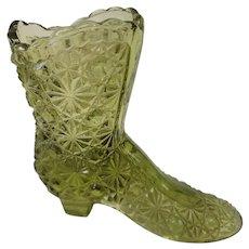 Fenton Art Glass Green Button and Daisy Boot