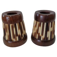 Pair of Wood & Porcupine Quill Candle Holders Made in Africa