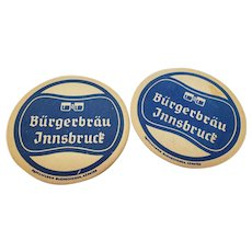 Set of 2 Vintage Burgerbrau Innsbruck Beer Coasters