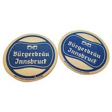 Set of 2 Vintage Burgerbrau Innsbruck Beer Coasters