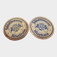 Set of 2 Vintage Schlokbrauerei Marlrain Beer Coasters