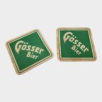 Set of 2 Vintage Gosser Bier German Beer Coasters