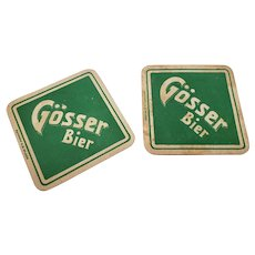 Set of 2 Vintage Gosser Bier German Beer Coasters