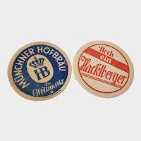 Set of 2 Vintage Beer Coasters - Munchner Hofbrau & Brauerei Hacklberg