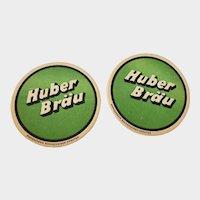 Set of 2 Vintage Huber Brau German Beer Coasters