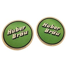 Set of 2 Vintage Huber Brau German Beer Coasters