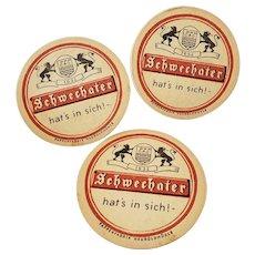 Set of 3 Vintage Schwechater German Beer Coasters