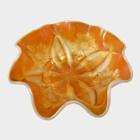 Dugan Peach Marigold Carnival Glass Four Flowers Bowl
