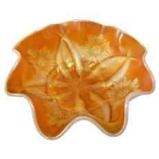 Dugan Peach Marigold Carnival Glass Four Flowers Bowl