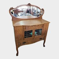 Antique Quarter Sawn Oak Sideboard / Buffet w/ Beveled Mirror Skinner & Steenman