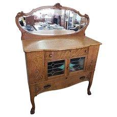 Antique Quarter Sawn Oak Sideboard / Buffet w/ Beveled Mirror Skinner & Steenman