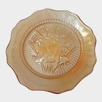 "Marigold Carnival Depression Glass Iris & Herringbone 5 1/2"" Plate"