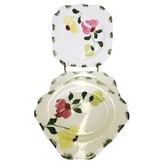 Set Of 3 Blue Ridge Square Plates With Pink Yellow & Green Flowers