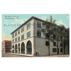 c1920 New YMCA Building Punxsutawney PA Pennsylvania Postcard Plates Destroyed