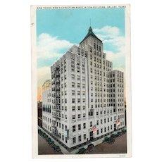 1933 New YMCA Building Dallas Texas Street View Postcard Cars American Flag