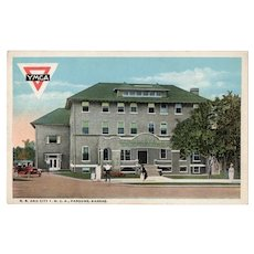 ca 1930 RR and City YMCA Parsons Kansas KS Street View Postcard