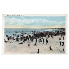 ca 1930 Beach Ocean City New Jersey NJ Postcard