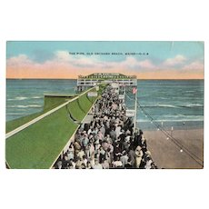 ca 1930 The Pier Old Orchard Beach Maine ME Postcard