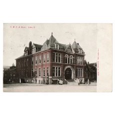 1907 YMCA Building Lima O. Ohio Street View Postcard Franklin One Cent Stamp 1c