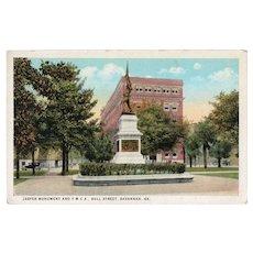 ca 1930 Jasper Monument & YMCA Bull Street Savanna GA Georgia Postcard