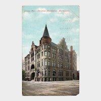 1909 YMCA Building Minneapolis MN Minnesota Postcard Franklin One Cent Stamp