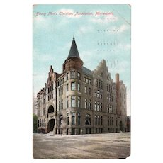 1909 YMCA Building Minneapolis MN Minnesota Postcard Franklin One Cent Stamp