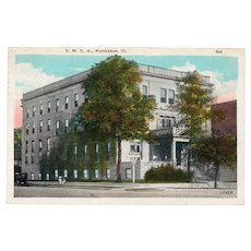 1928 YMCA Building Kankakee ILL Illinois Street View Postcard Franklin 1c Stamp
