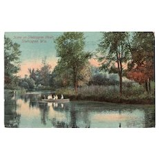 1912 Scene on Sheboygan River Wis Wisconsin Postcard People in Canoe