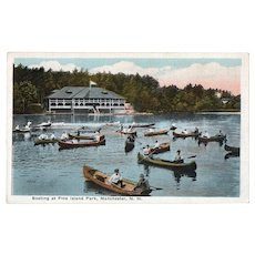 ca 1915 at Boating Pine Island Park Manchester NH New Hampshire Postcard