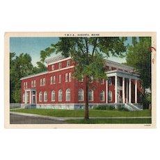 ca 1940 YMCA Augusta Maine ME Street View Linen Postcard