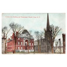 ca 1910 YMCA Building & Westminster Church Utica NY New York Postcard
