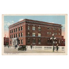 1918 YWCA Aurora ILL Illinois Building Postcard Red Two Cent 2c Washington Stamp