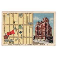 1938 William Sloane House YMCA West 34th St New York City NY Postcard