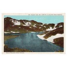 1930's Summit Lake on Mt Evans Highway Denver Colorado Postcard
