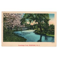 1939 Greetings from Winton NC North Carolina Postcard Lake River Scene