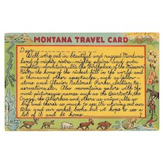 1950's Montana Travel Card Linen Postcard Fishing Forest Indians Moose