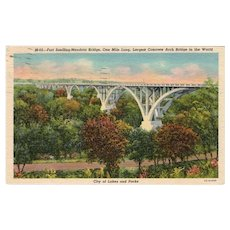 1950 Fort Snelling Mendota Bridge Largest Concrete Arch Bridge Linen Postcard
