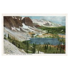 1942 Lake Marie & Snowy Range Wyoming Linen Postcard