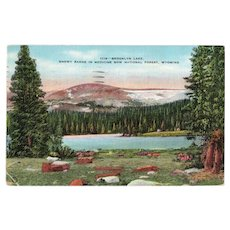 1938 Brooklyn Lake Medicine Bow National Forest Linen Postcard Franklin 1c Stamp